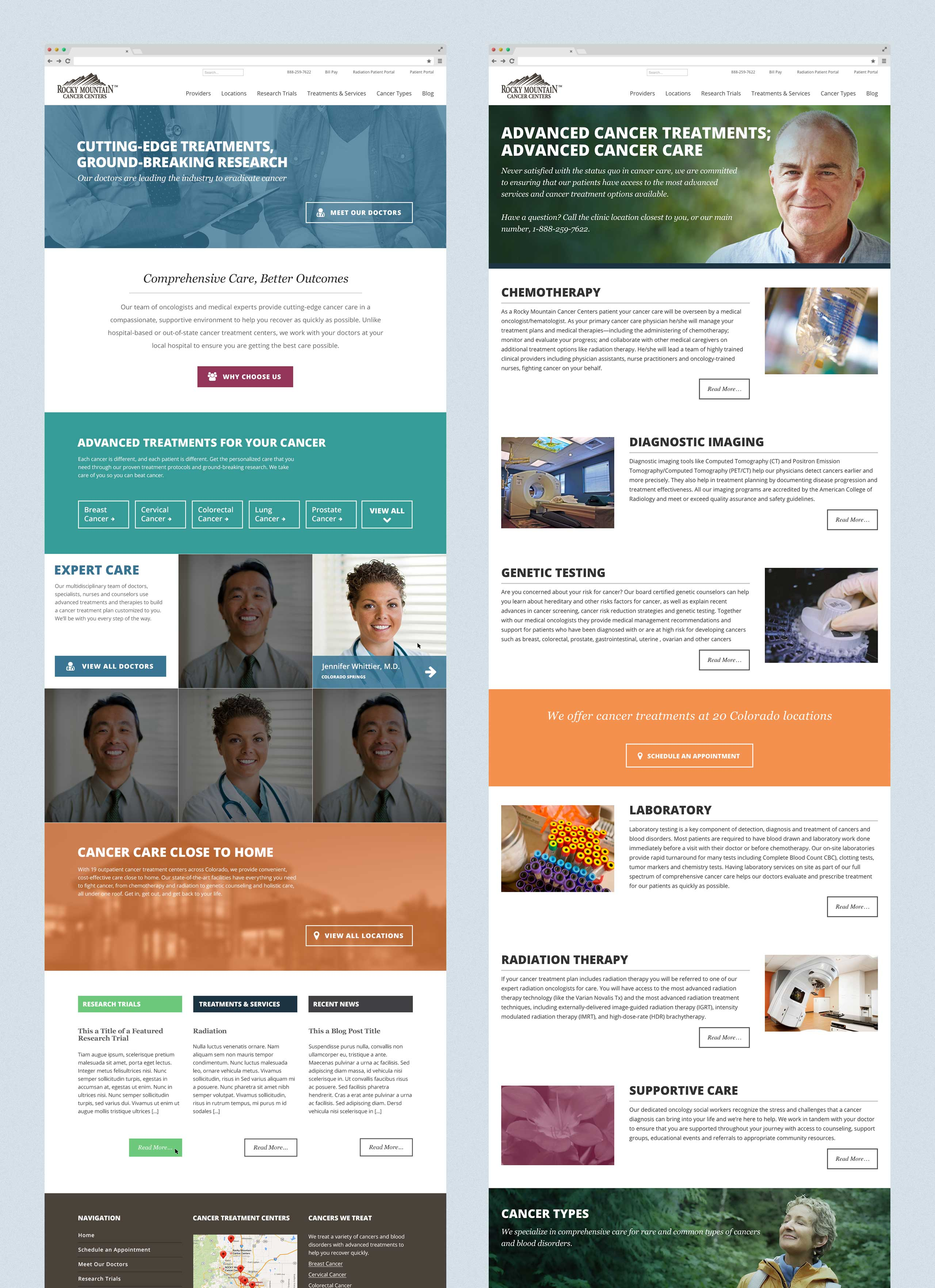 Rocky Mountain Cancer Centers Mockups